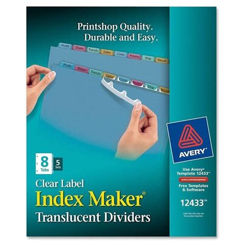 Easy Apply Label Strips For Avery Index Maker Template Avery Index Maker Easy Apply Clear Label Strips Ave12433