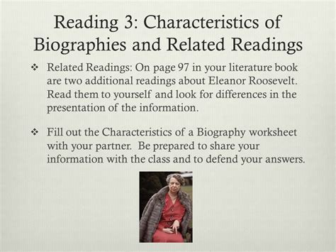 characteristics of biography autobiography and memoir eleanor roosevelt by william jay jacobs ppt video