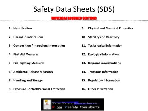 16 sections of msds ghs sds sheet 16 new items in order