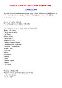 dodge caliber 2007 2009 service repair manual pdf by