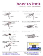 how to knit guide the knit basics handout includes for cast on