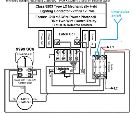 mechanically held lighting contactor wiring diagram square