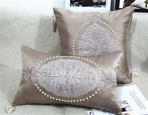 Handmade Decorative Pillows - 2015 handmade luxury bed cushion pearl beaded cushion