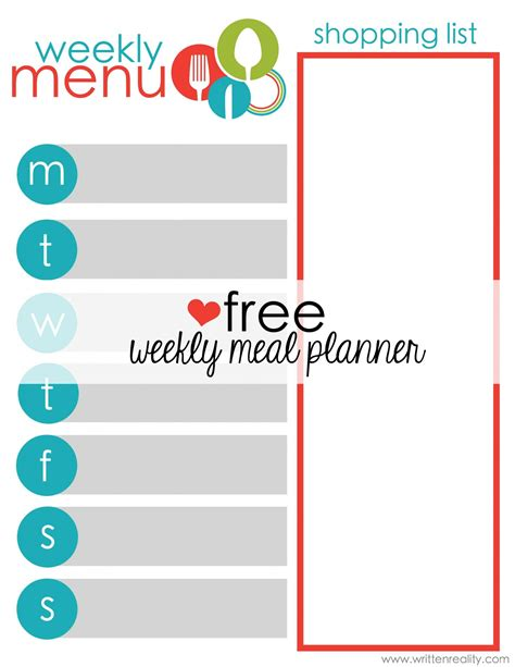 printable meal planner free free meal planner printable written reality