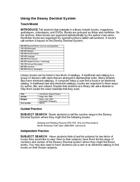 Dewey Decimal System Worksheets by Dewey Decimal System Worksheets Dewey Decimal Worksheets