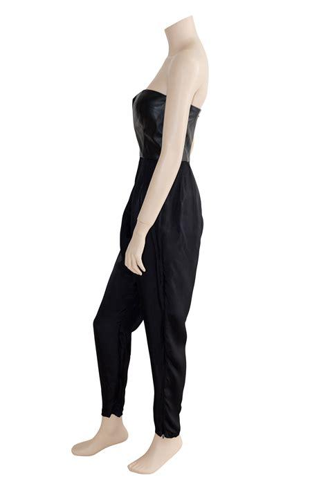 Preloved Jumpsuit shakuhachi black leather bustier strapless jumpsuit