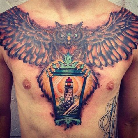 tattoo burung hantu di dada tattoo burung tattoo design bild