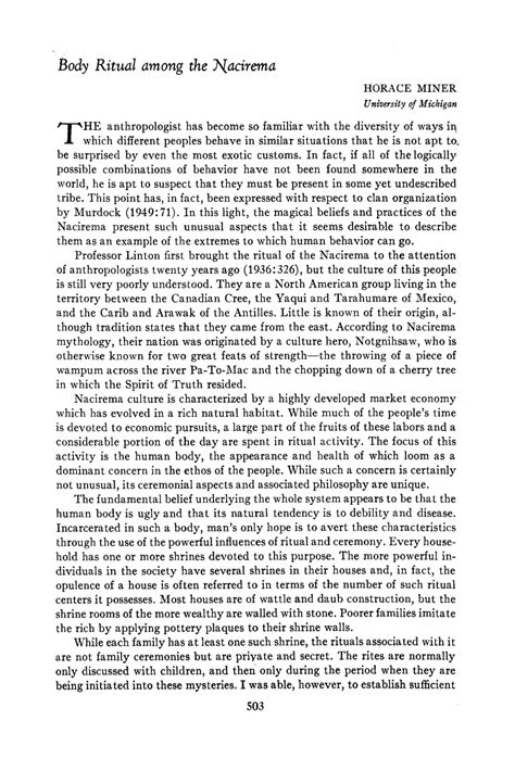 Ritual Among The Nacirema Essay by The Subversive Archaeologist Touchstone Thursday Horace Miner S Ritual Among The Nacirema