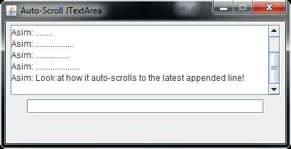 java swing text area java swing auto scrolling jscrollpane i e chat window