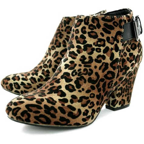 buy dixie block heel buckle ankle boots leopard suede style