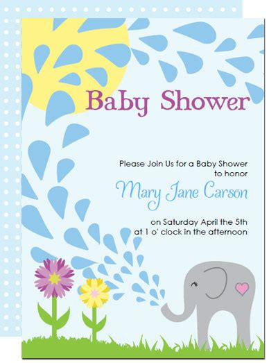Printable Elephant Baby Shower Invitations Templates Elephant Baby Shower Invitations Free Template
