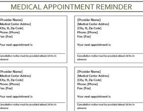 Appointment Reminder Template Free by Appointment Reminder My Excel Templates