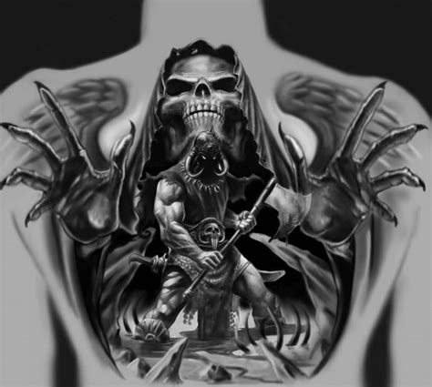 death tattoo ideas brilliant back decorated with realistic angry