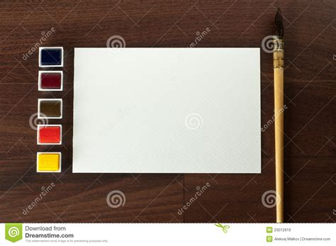 painting on blank paper vintage watercolor paint set with blank paper royalty