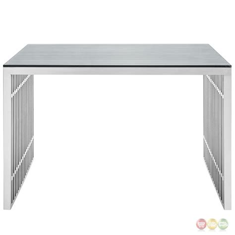 gridiron modernistic stainless steel office desk with