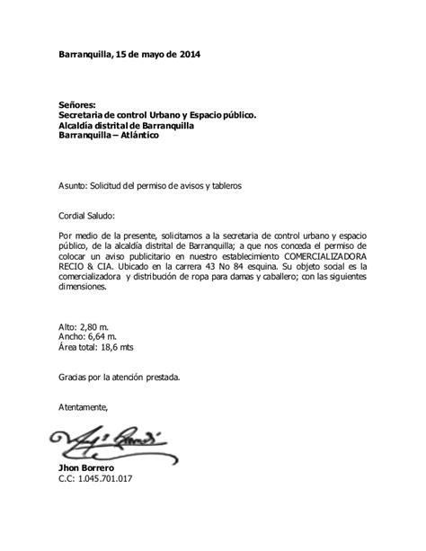 modelo de solicitud simple de permiso carta de solicitud de permiso de avisos y tableros 1