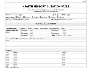 comprehensive health history template health history checklist health history questionanaire