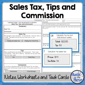 Gift Card Sales Tax - percents sales tax tips and commission notes task cards and worksheet