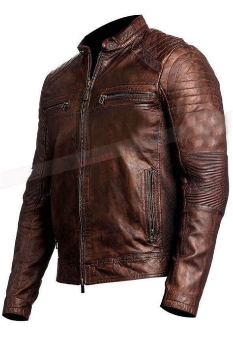 brown motorcycle jacket vintage motorcycle distressed brown cafe racer leather