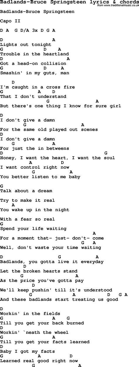 lyrics bruce springsteen badlands lyrics