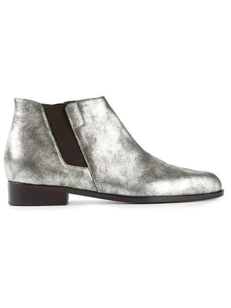 silver ankle boots giuseppe zanotti ankle boots in silver metallic lyst