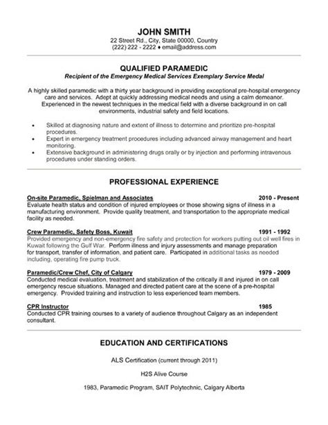 click here to this qualified paramedic resume