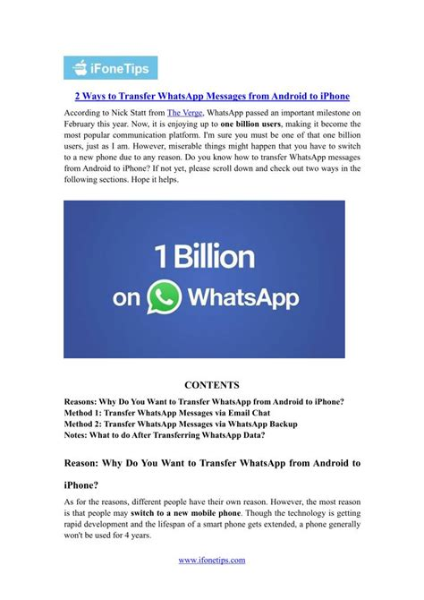 transfer whatsapp messages from android to iphone ppt 2 ways to transfer whatsapp messages from android to iphone powerpoint presentation id