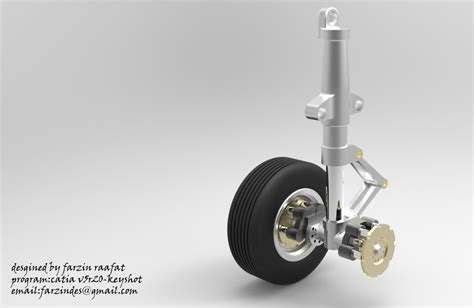 Wheel Landing Assembly landing gear airplane wheel catia step iges 3d cad