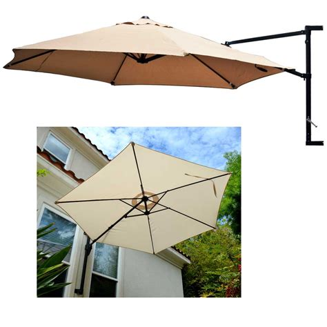 Patio Umbrella Mounts Offset Umbrella Patio Wall Mount Garden Outdoor Sun Canopy