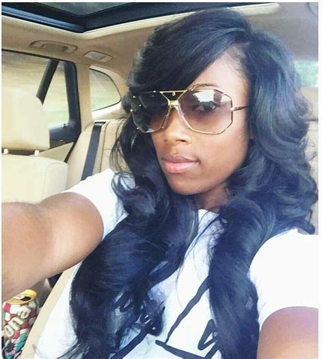 side part with bang sew in hairstyles