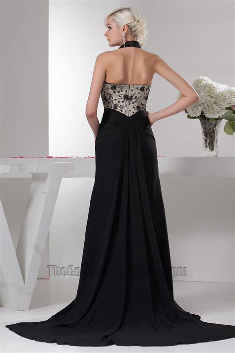 beadwork gown halter black beaded evening dress prom gowns