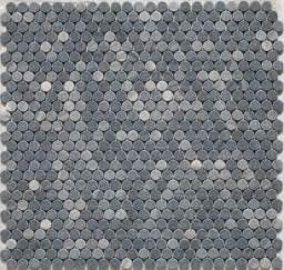 Grey penny round tile bathroom floor