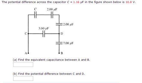 how to find potential difference across a capacitor in series the potential difference across the capacitor c chegg