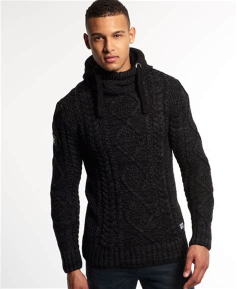 Superdry Black Blizzard Knit Hoodie For Mens