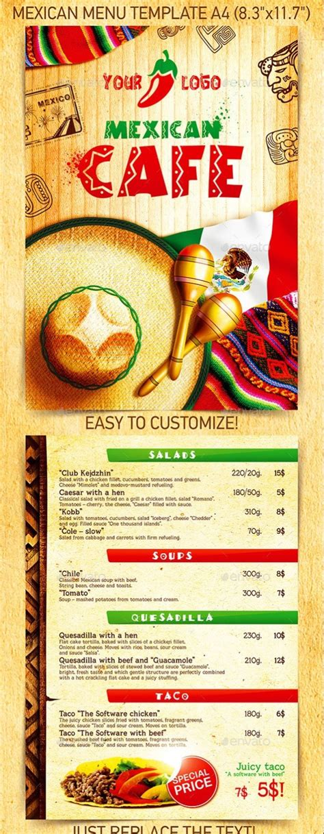 free mexican menu template 40 psd indesign food menu templates for restaurants