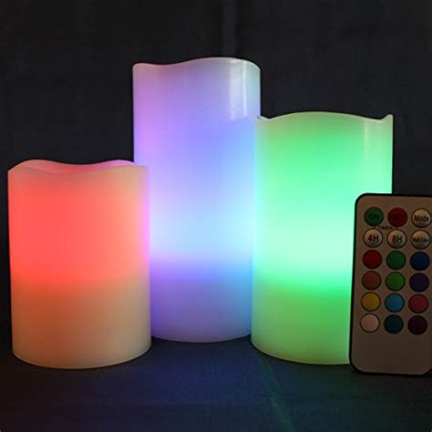 Colored Flameless Candles With Timer by Led Lytes Multi Color Real Wax Battery Operated Flameless