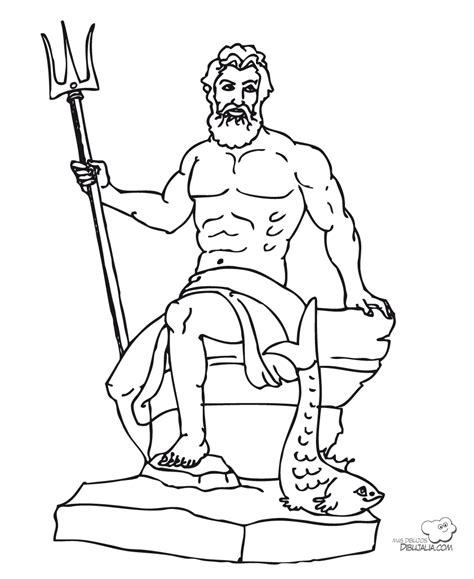 imagenes de dios zeus para dibujar dios griego poseidon dibujalia dibujos para colorear
