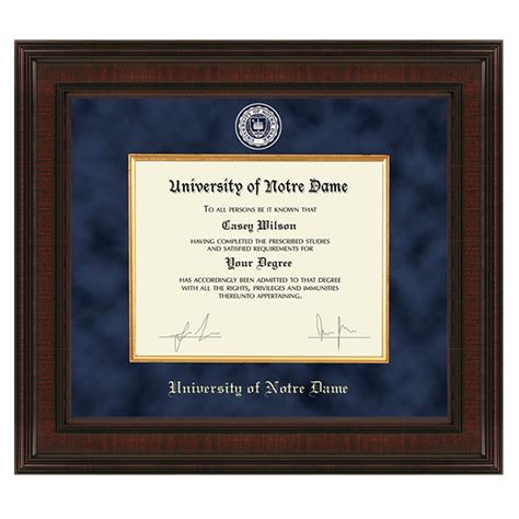 University Of Notre Dame Diploma Frame Excelsior Notre Dame Desk Accessories