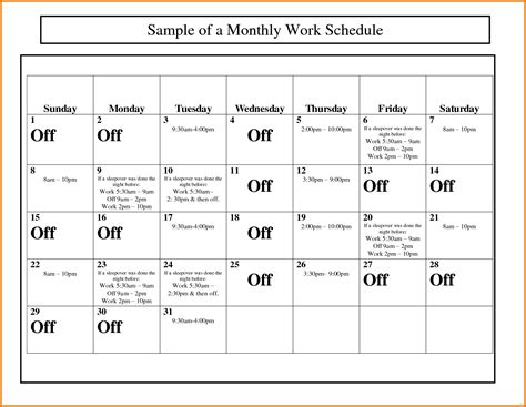 work schedule calendar template monthly work schedule template newfangled capture calendar
