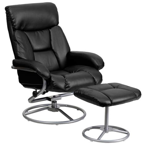 Black Leather Chair With Ottoman Flash Furniture Contemporary Black Leather Recliner And Ottoman With Metal Base Bt70230bkcir