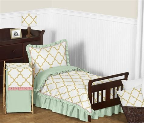 mint and gold bedding gold mint coral and white ava girls toddler bedding