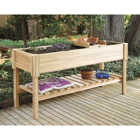 raised planter box cedar creek cedar wood raised planter box potting benches at hayneedle