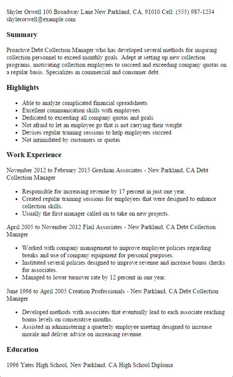 Collection Representative Sle Resume by Professional Debt Collection Manager Templates To Showcase Your Talent Myperfectresume