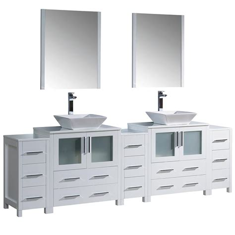 96 double vanity top fresca torino 96 in double vanity in white with glass