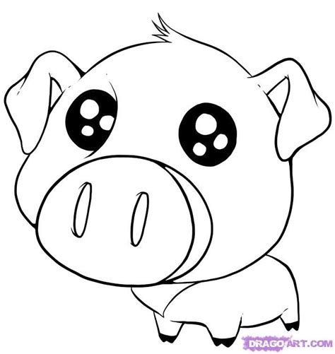 cute drawings of animals how to draw a cute pig step by
