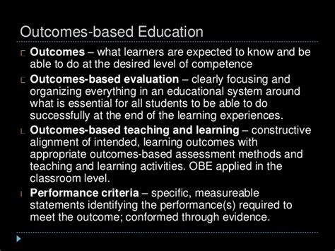 thesis about outcome based education evaluation of learning outcomes in education college paper