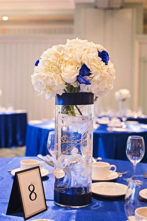 Royal Blue Wedding Reception Centerpiece Table Wedding Reception Centerpieces