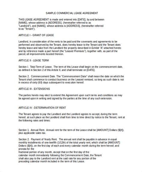 business lease agreement template sle commercial lease agreements resume template ideas