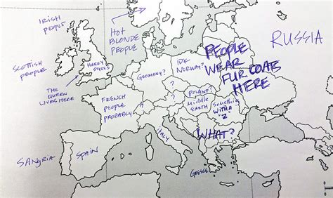 europe map with country names americans were asked to place european countries on a map