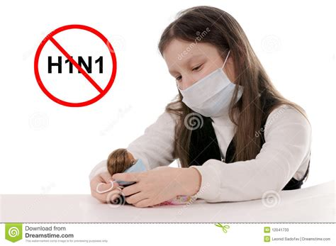 stop preteen com stop the flu girl in protective mask stock photos image